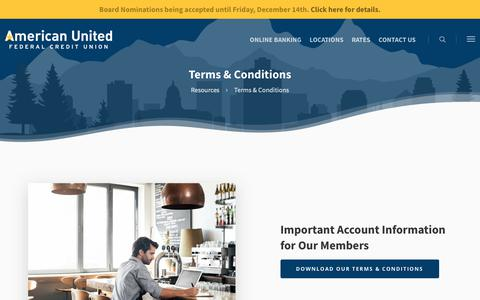 Screenshot of Terms Page amucu.org - Terms & Conditions | American United Federal Credit Union - captured Nov. 12, 2018