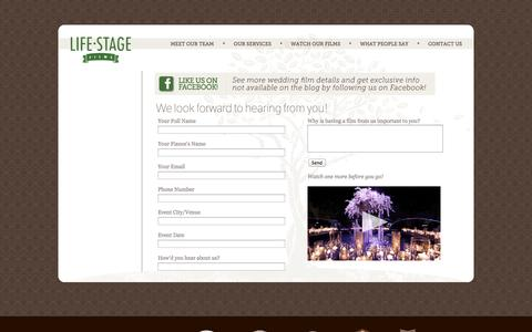 Screenshot of Contact Page lifestagefilms.com - Contact Us - captured Oct. 27, 2014