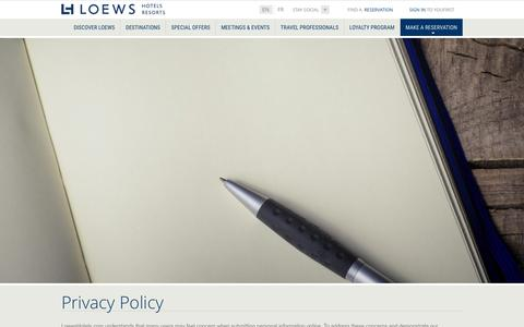 Privacy Policy | Loews Luxury Hotels and Resorts