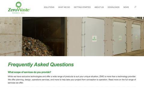 Screenshot of FAQ Page zerowasteenergy.com - Frequently Asked Questions - Zero Waste Energy - captured Nov. 6, 2017