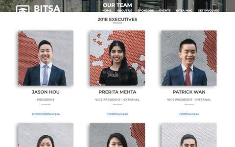 Screenshot of Team Page bitsa.org.au - BITSA | About Us - captured Nov. 6, 2018