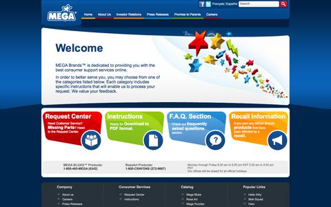 Screenshot of Support Page megabrands.com - MEGA Brands   Consumer Service   Service Center - captured Sept. 18, 2014