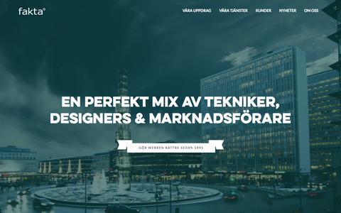 Screenshot of Home Page fakta.se - Hem - fakta, en webbyrå i Stockholm - captured Aug. 3, 2015