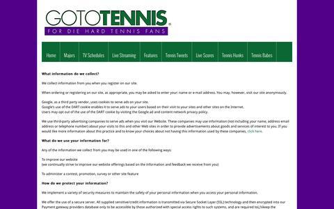 Screenshot of Privacy Page gototennis.com - PRIVACY POLICY | GOTOTENNIS - captured Dec. 6, 2015