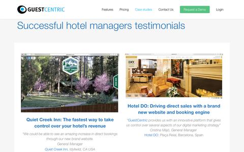 Screenshot of Case Studies Page guestcentric.com - GuestCentric customers - captured July 12, 2018