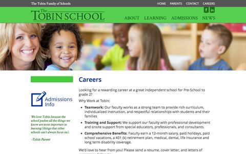 Screenshot of Jobs Page thetobinschool.org - Careers - The Tobin School - captured Feb. 28, 2016