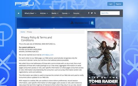 Screenshot of Privacy Page psu.com - PlayStation Universe - Privacy - captured Jan. 20, 2016