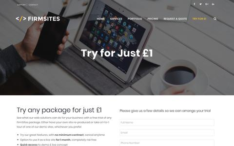 Screenshot of Trial Page firmsites.co.uk - Try FirmSites for £1 - FirmSites Design & Marketing - captured July 10, 2018