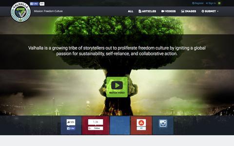 Screenshot of Home Page valhallamovement.com - The Valhalla Movement - captured Oct. 1, 2015