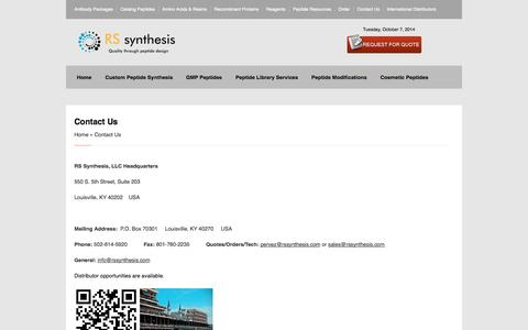 Screenshot of Contact Page rssynthesis.com - Contact Us » RS Synthesis Peptides | Custom Peptide Synthesis   | Peptide Design | RS Synthesis - captured Oct. 7, 2014