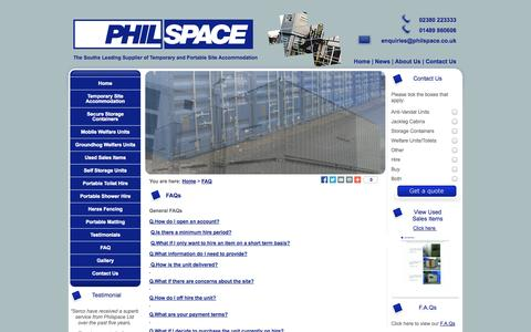 Screenshot of FAQ Page philspace.co.uk - FAQs | Philspace | Hampshire UK | Secure Storage Units | Self Storage Containers - captured Nov. 1, 2014