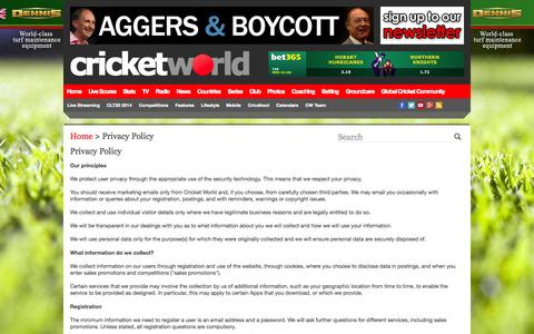 Screenshot of Privacy Page cricketworld.com - Privacy Policy | Cricket World - captured Sept. 19, 2014