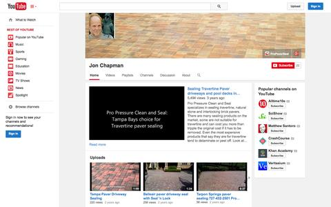 Screenshot of YouTube Page youtube.com - Jon Chapman  - YouTube - captured Oct. 22, 2014