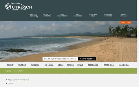 Screenshot of Site Map Page outreachinternational.co.uk - Sitemap | Volunteering Advice | Outreach International - captured Feb. 17, 2016