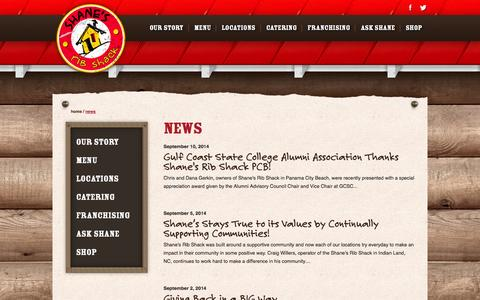 Screenshot of Press Page shanesribshack.com - News | Ribs Restaurant and Affordable Catering | Shane's Rib Shack - captured Sept. 22, 2014