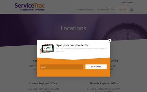 Screenshot of Locations Page servicetrac.com - Locations - ServiceTrac - captured Nov. 12, 2017