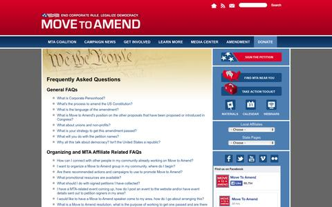 Screenshot of FAQ Page movetoamend.org - Frequently Asked Questions | Move to Amend - captured Oct. 26, 2014