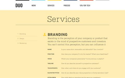 Screenshot of Services Page meetduo.com - Creative Services - DUO - captured Oct. 5, 2014