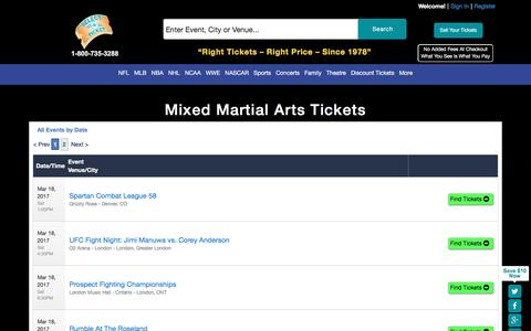 Buy Sports tickets at SelectATicket.com Mixed Martial Arts -