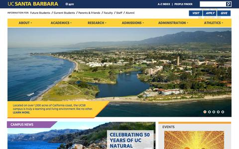 Screenshot of Home Page ucsb.edu - Home - University of California, Santa Barbara - captured Oct. 1, 2015