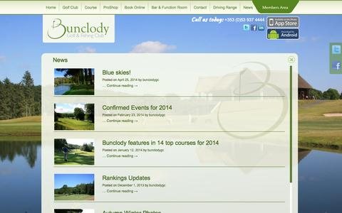 Screenshot of Press Page bunclodygfc.ie - News | Bunclody Golf & Fishing Club - captured Nov. 3, 2014