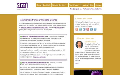 Screenshot of Testimonials Page dmjcomputerservices.com - Testimonials from our Website Clients - Web Design, Wordpress and Hosting Services in Swindon - captured Sept. 22, 2014