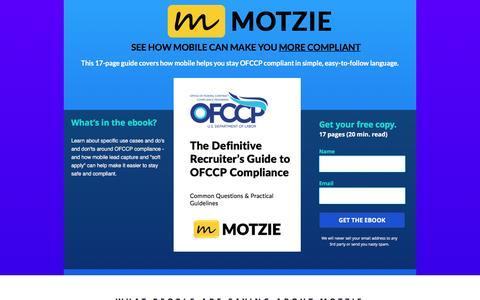 Screenshot of Landing Page motzie.com - Mobile Lead Generation for Recruiters - captured April 7, 2017