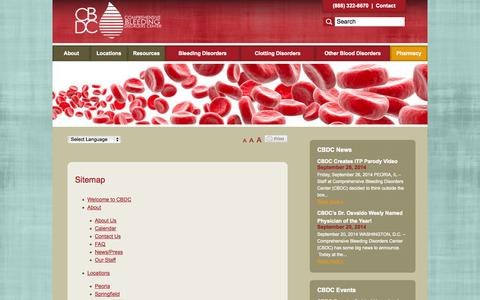 Screenshot of Site Map Page compbleed.com - Sitemap - Comprehensive Bleeding Disorders Center - captured Oct. 1, 2014
