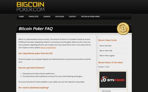 Screenshot of bigcoinpoker.com - Bitcoin Poker FAQ - BigcoinPoker.com - captured Oct. 7, 2015
