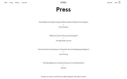 Screenshot of Press Page storq.com - Press - Storq | Storq - captured Dec. 8, 2018