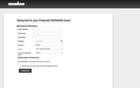 Screenshot of Landing Page ironman.com captured April 13, 2018