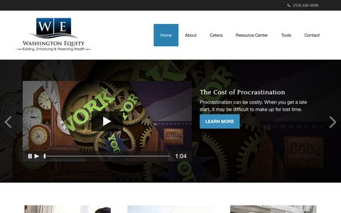 Screenshot of Home Page washeq.com - Home | Washington Equity, LLC - captured Oct. 19, 2018