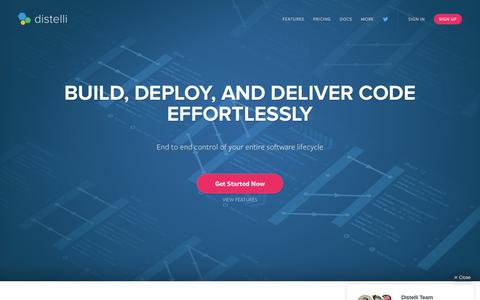 Screenshot of Home Page distelli.com - Distelli: Continuous Delivery | Continuous Deployment - captured Feb. 9, 2016