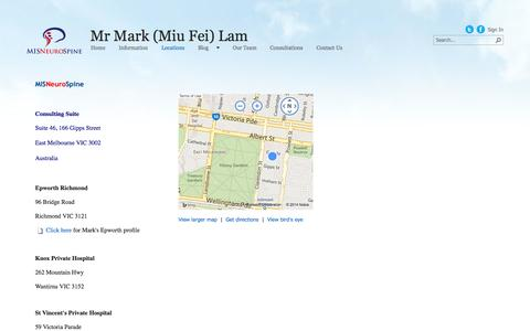 Screenshot of Maps & Directions Page misneurospine.com.au - Directions - captured Sept. 30, 2014