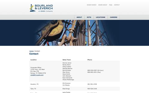 Screenshot of Contact Page Locations Page bl-supply.com - Bourland & Leverich | Contact - captured Oct. 23, 2014