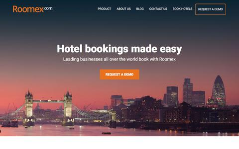 Screenshot of Home Page roomex.com - Roomex is a Global Hotel Booking Platform for Business Travel, Corporate Travel Management Company - captured Sept. 12, 2016