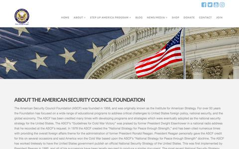 Screenshot of About Page ascfusa.org - About - American Security Council Foundation - captured Oct. 8, 2017