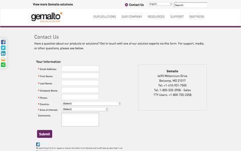 Screenshot of Contact Page gemalto.com - Contact Us | Gemalto - captured June 25, 2016