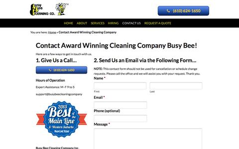 Screenshot of Contact Page busybeecleaningcompany.com - Contact Award Winning Cleaning Company | West Chester PA - captured Dec. 8, 2017