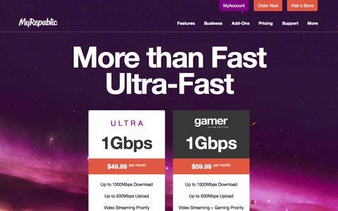 Screenshot of Pricing Page myrepublic.com.sg - MyRepublic | 1Gbps - The World's Fastest Fibre Broadband - captured Oct. 26, 2014