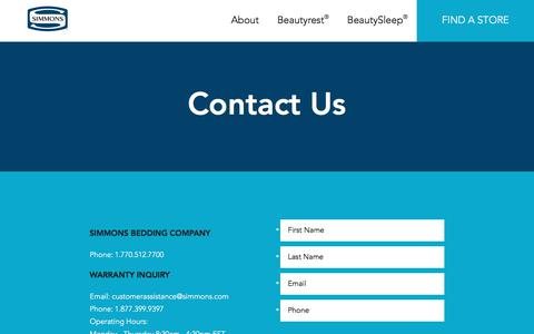 Screenshot of Contact Page simmons.com - Contact Simmons | Call or Email Simmons | Simmons - captured Sept. 26, 2017