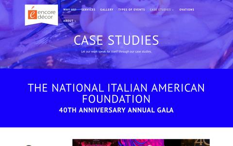 Screenshot of Case Studies Page encoredecorinc.com - Encore Decor's Events Case Study, Photos and Details - captured May 10, 2017