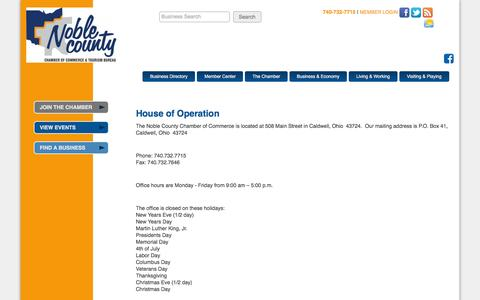 Screenshot of Hours Page noblecountychamber.com - Hours of Operation - Noble County Chamber of Commerce & Tourism Bureau - captured March 12, 2016