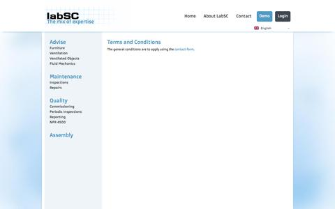 Screenshot of Terms Page labsc.com - Terms and Conditions - labSC dè mix van deskundigheidlabSC dè mix van deskundigheid - captured Sept. 20, 2017