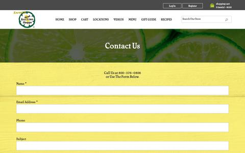 Screenshot of Contact Page keylimeshop.com - Contact Us - Kermit's Key West Key Lime Shoppe - captured Dec. 20, 2018