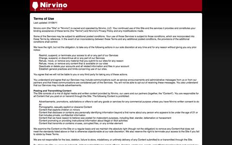 Screenshot of Terms Page nirvino.com - Nirvino - captured Oct. 26, 2014