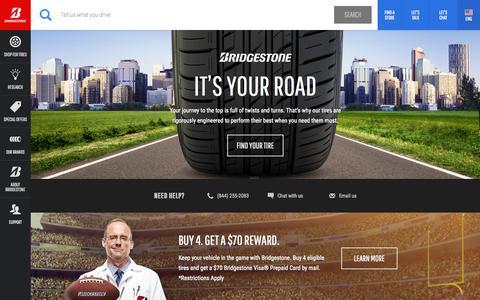 Screenshot of Home Page bridgestonetire.com - Car Tires and Truck Tires | Bridgestone Tires - captured Sept. 20, 2015