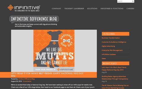 Screenshot of Blog infinitive.com - The Infinitive Difference Blog - captured Aug. 30, 2016