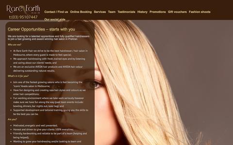 Screenshot of Jobs Page rareearthhair.com.au - Hairdressing Careers | Rare Earth Hair Salon - captured Feb. 23, 2016