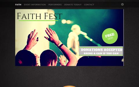 Screenshot of Home Page faith-fest.com - Rock Your Christianity | Faith Fest - captured Oct. 1, 2014